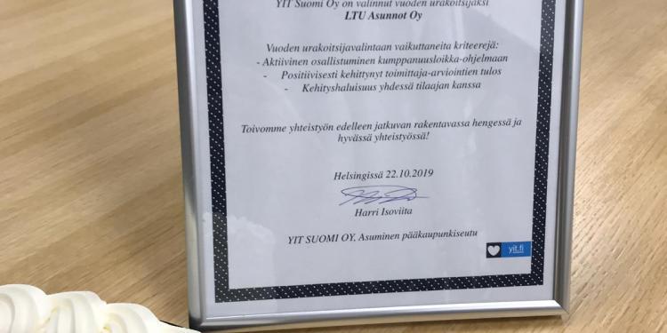 YIT valitsi LTU Asunnot Oy:n Vuoden urakoitsijaksi